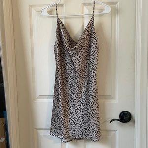 Satin Cowl Neck Leopard Print Mini Dress